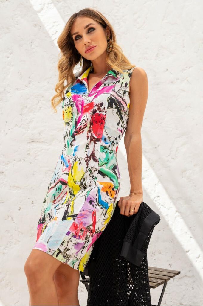 Maloka: Pink Leopard Abstract Art Linen Dress (Few Left!) MK_OZETTE
