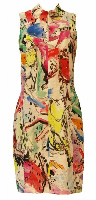 Maloka: Pink Leopard Abstract Art Linen Dress (Few Left!)