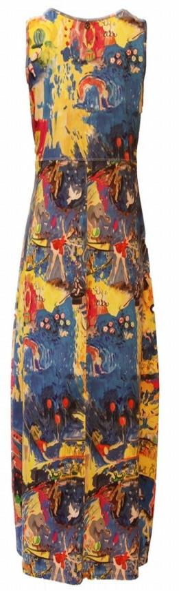Maloka: Circus Fantasy Abstract Art High Waisted Maxi/Midi Dress - Converts to Jumpsuit - Hidden Snap Hem!  (Few Left in Cirque Fantasy!)