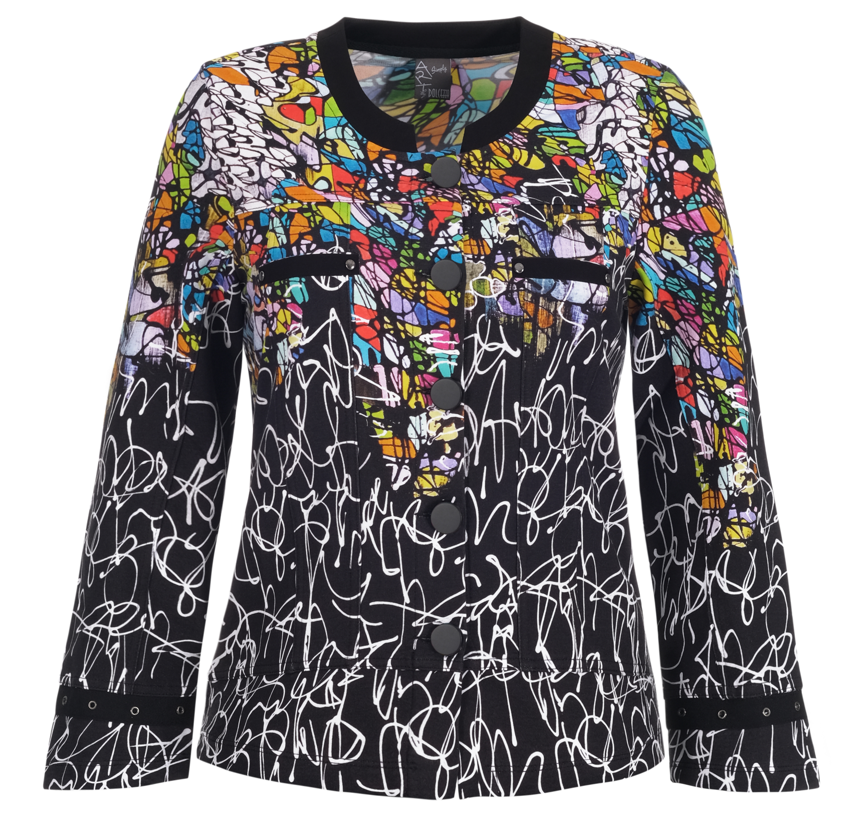 Simply Art Dolcezza: Black Board Abstract Art Cardigan (2 Left!) Dolcezza_SimplyArt_21648