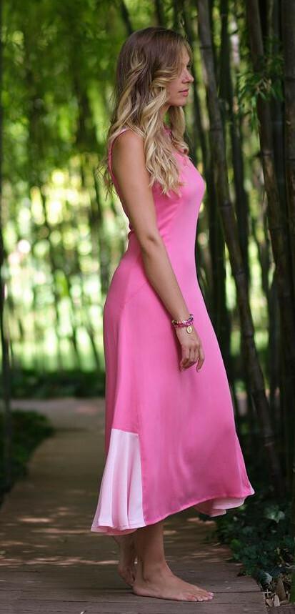 Paul Brial: Pink Souffle Colorblock Organic Cotton Maxi Dress (1 Left!) PB_LENA