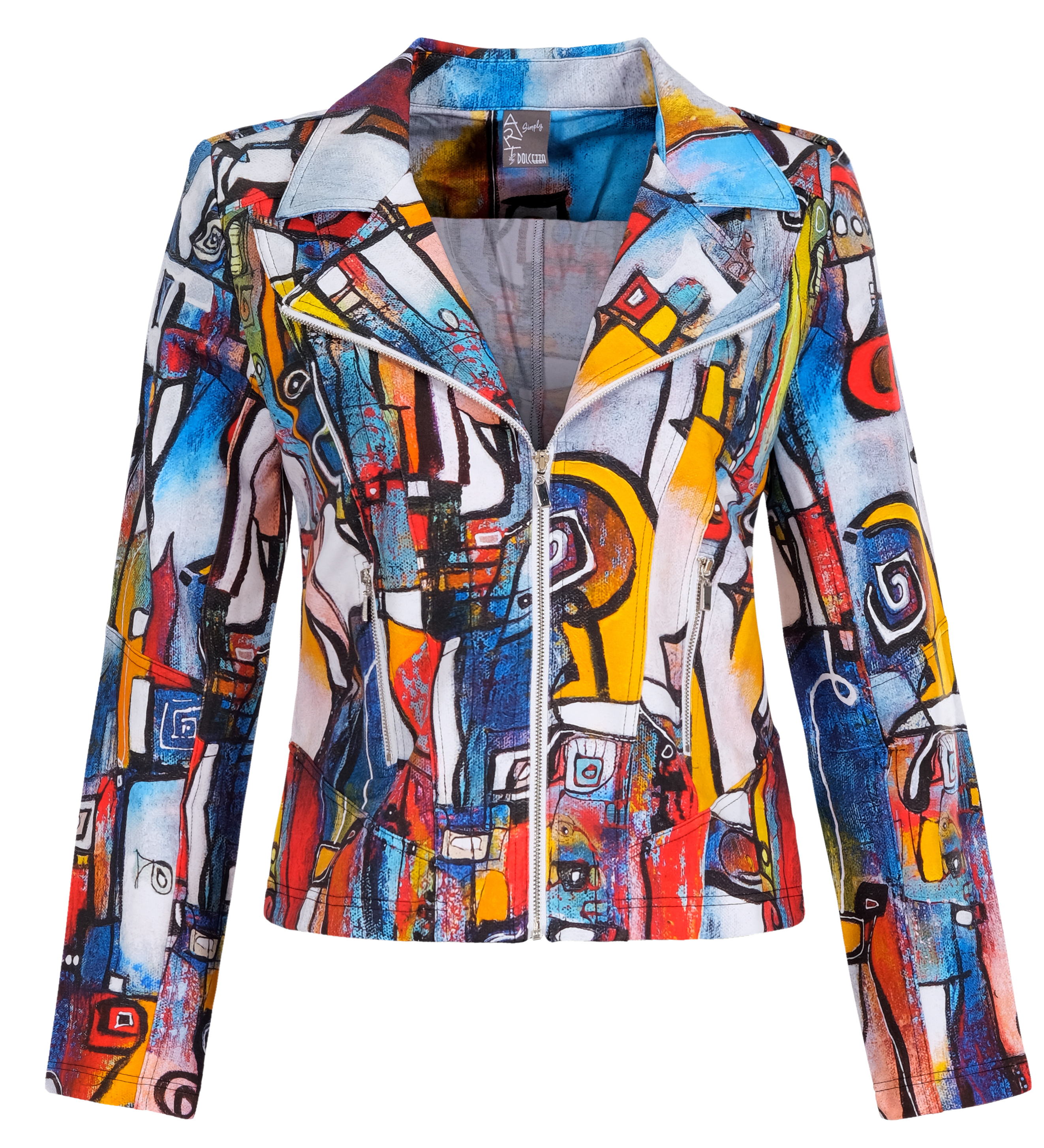 Simply Art Dolcezza: It's Complicated Crazy Cool Abstract Art Soft Denim Zip Jacket (1 Left!) Dolcezza_SimplyArt_21717