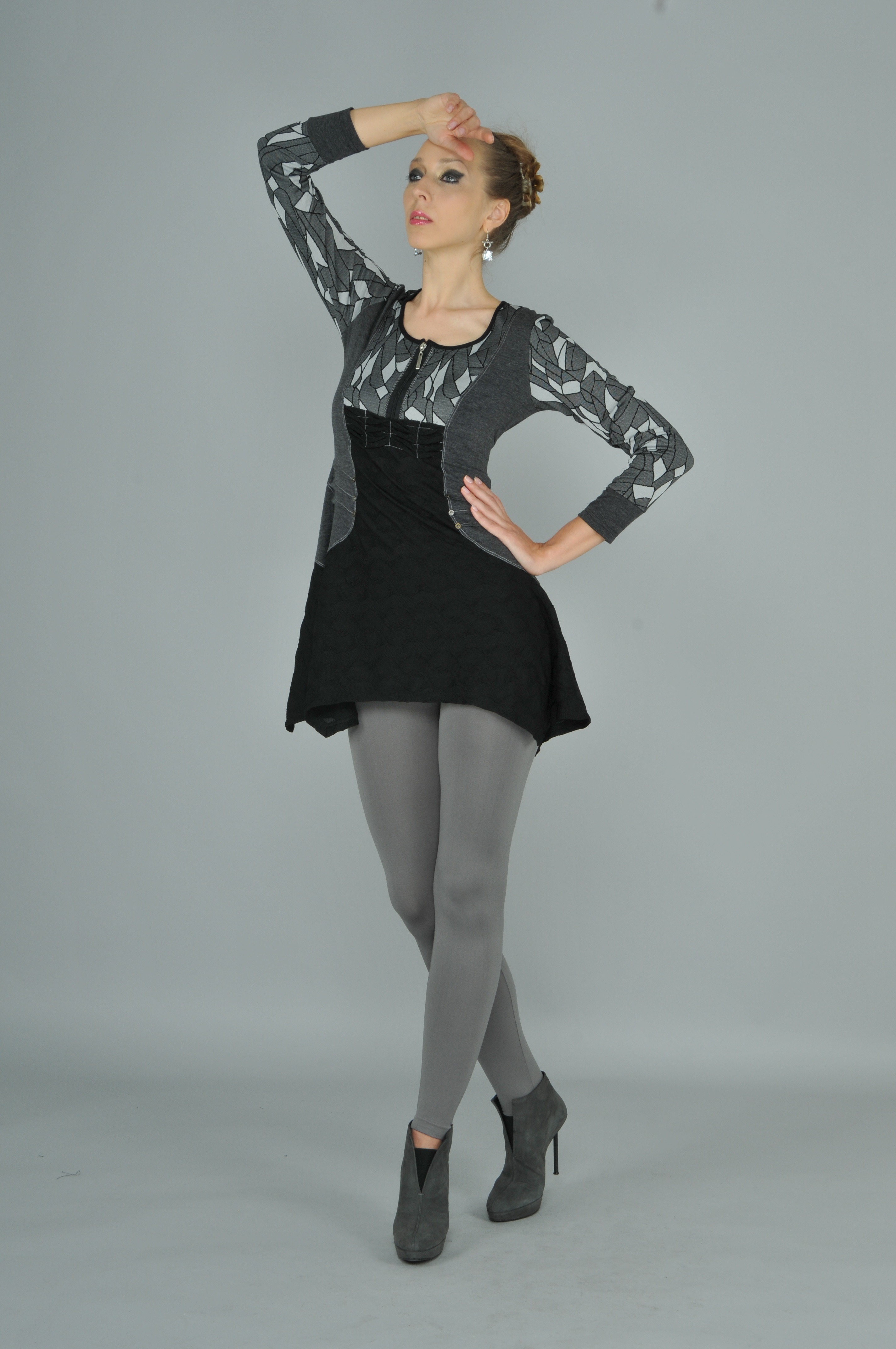 Dzhavael Couture: Asymmetrical Smoking Grey Tunic DZ_30888