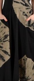 Luna Luz: Globe Cross Over Bodice Long Cotton Dress (Ships Immed, 2 Left in Black/White & Black/Khaki!)