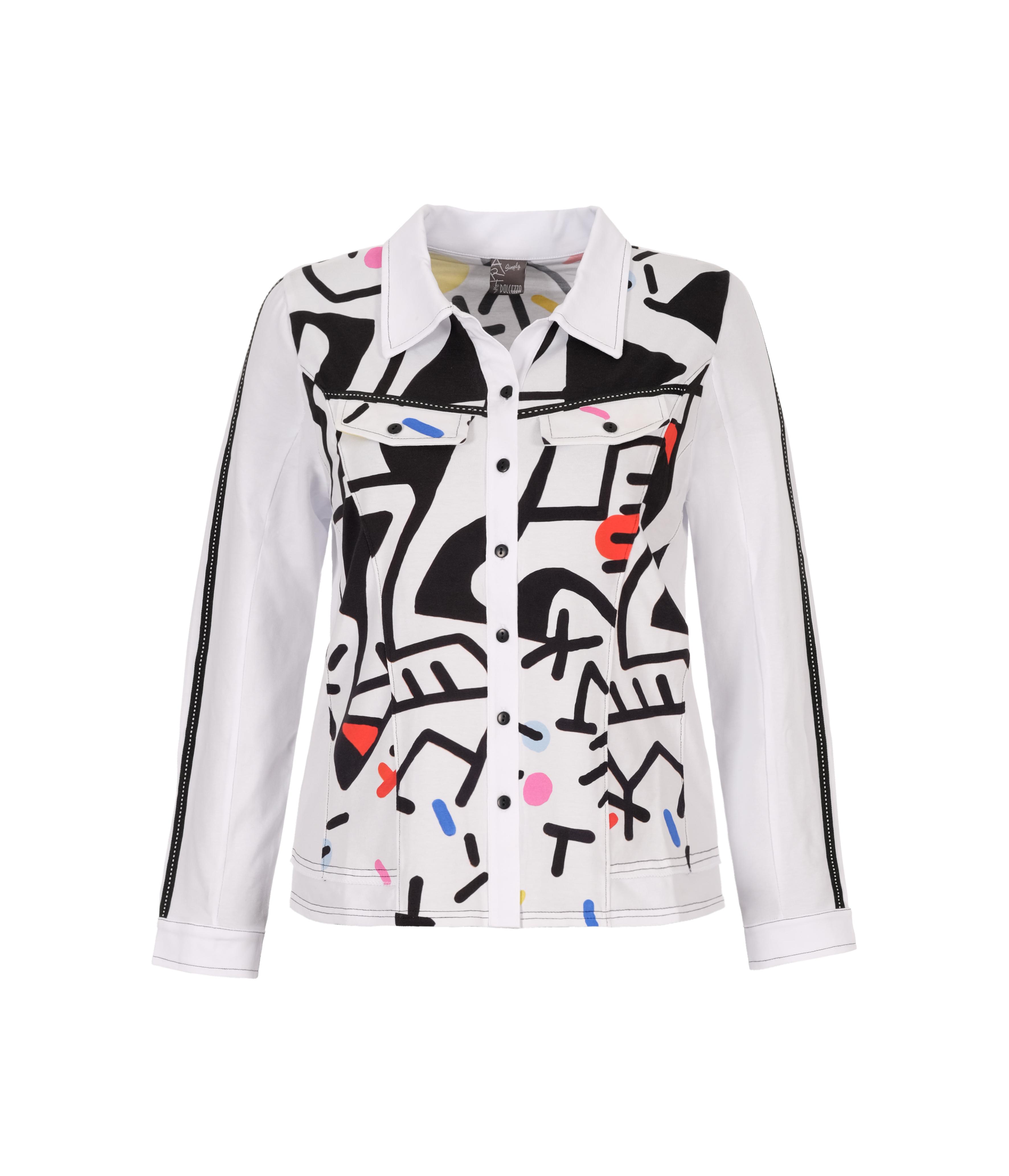 Simply Art Dolcezza: Naissance De L'Origine Asymmetrical Abstract Art Buttoned Cardigan Blouse Dolcezza_SimplyArt_21676
