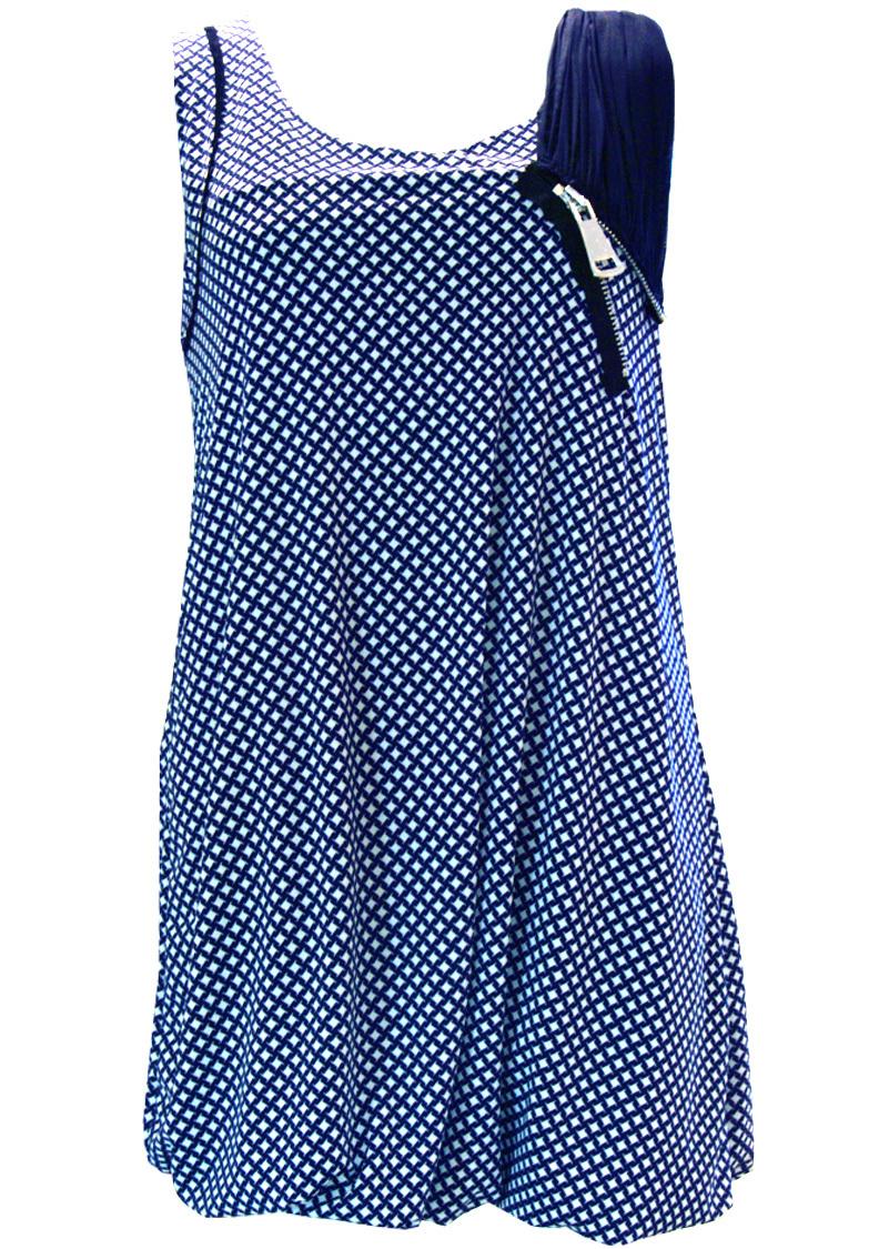 Double Jeu Paris: Luscious Lollipop Mini Dress/Tunic (1 Left!) DJ_ROBE_BABY_LOSANGES_BLEUE_ET_ECRUE