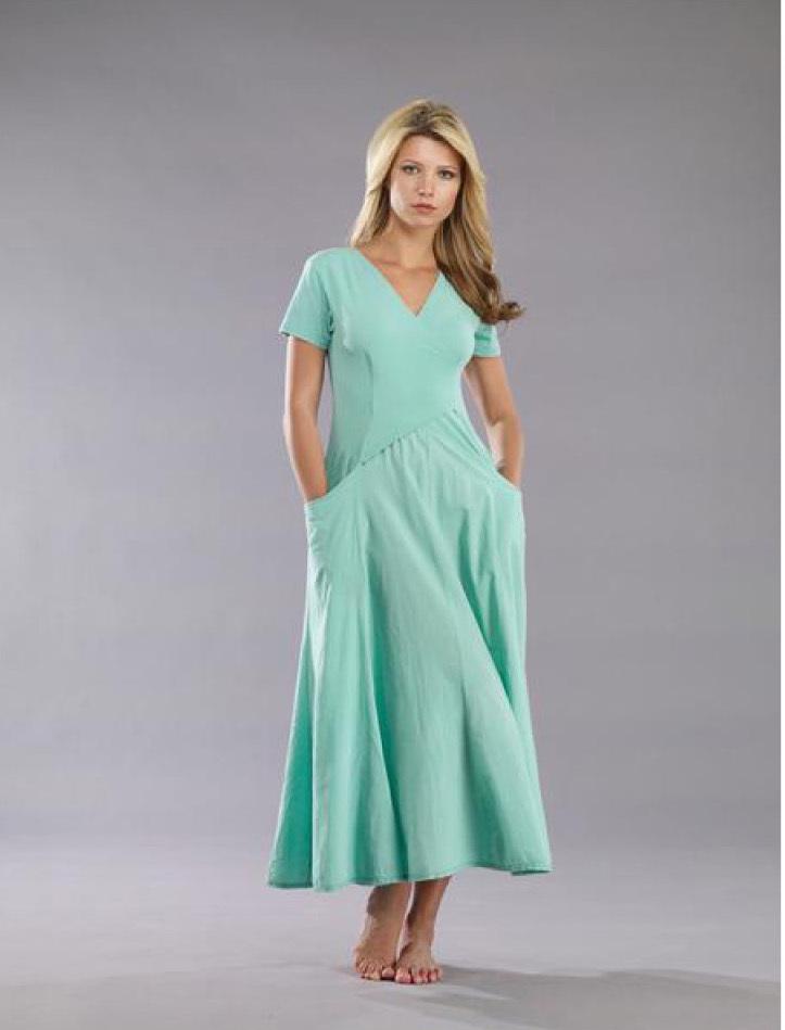 Luna Luz: Short Sleeve Cross Over Bodice Long Dress SOLD OUT LL_518_SkyBlue