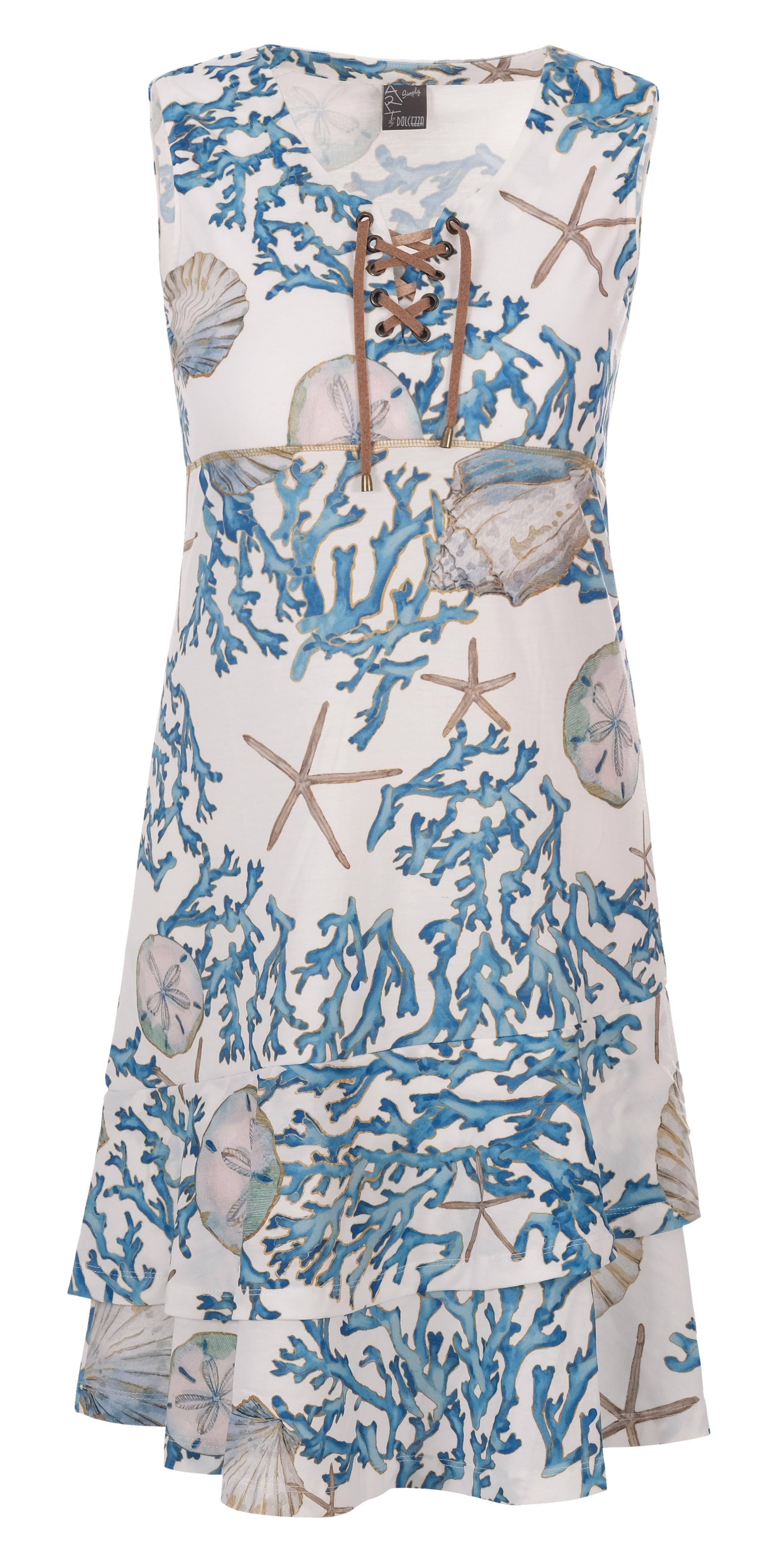 Simply Art Dolcezza: Playa Shells Abstract Art Double Ruffled Hem Dress (1 Left!) Dolcezza_SimplyArt_21756