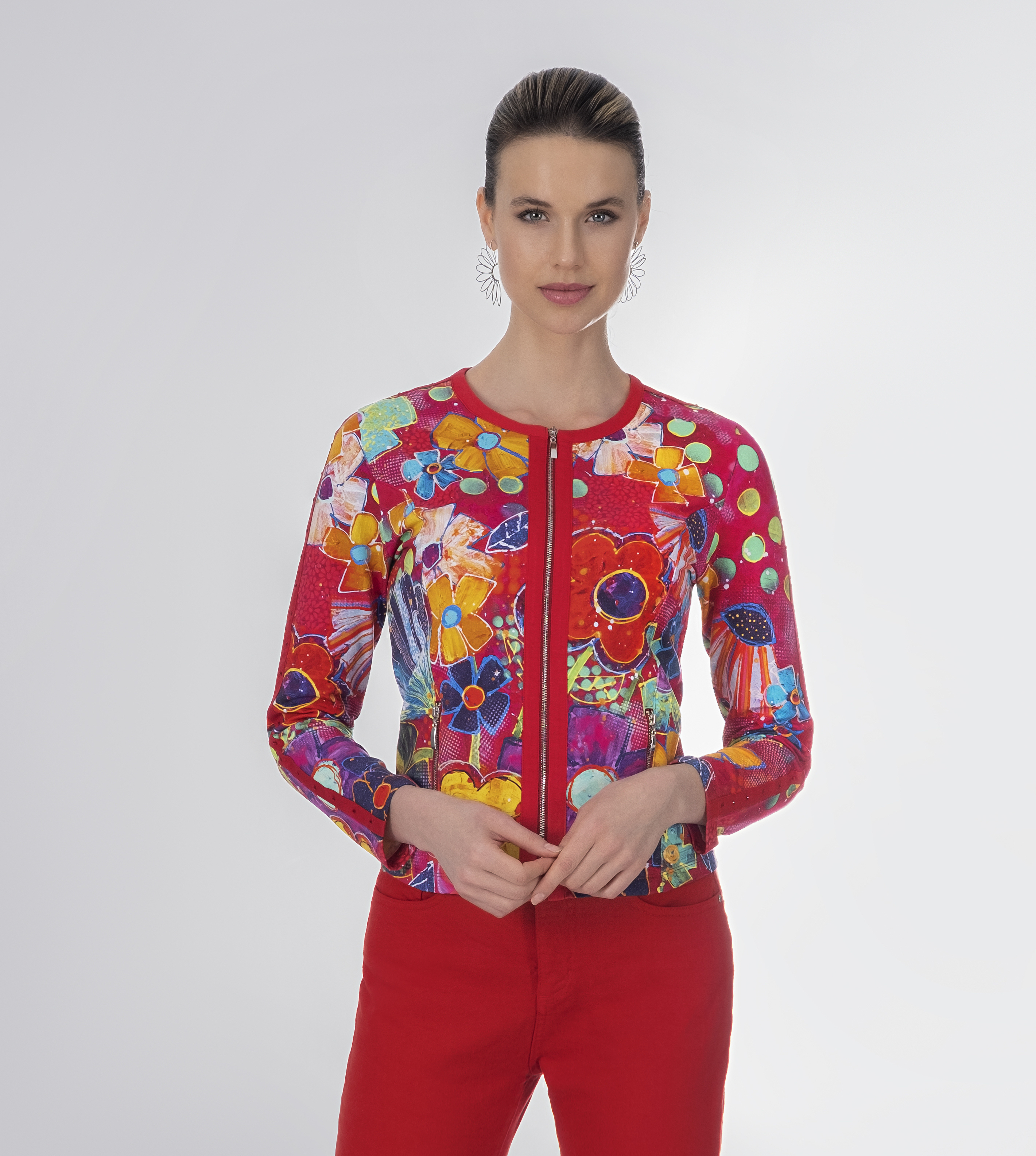 Simply Art: Fiesta Flowers Soft Denim Zip Up Abstract Art Jacket SOLD OUT Dolcezza_SimplyArt_21700