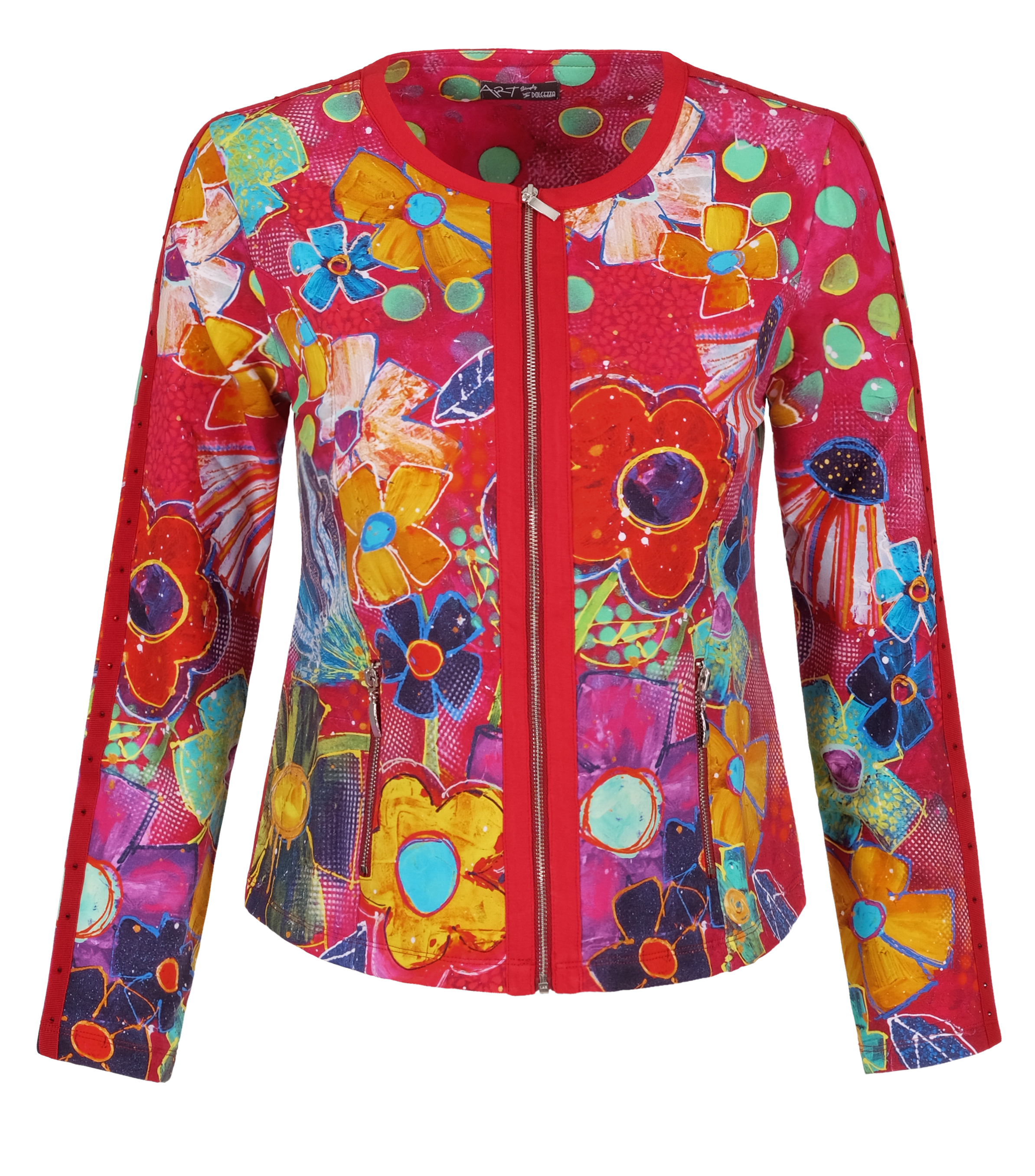Simply Art: Fiesta Flowers Soft Denim Zip Up Abstract Art Jacket SOLD OUT