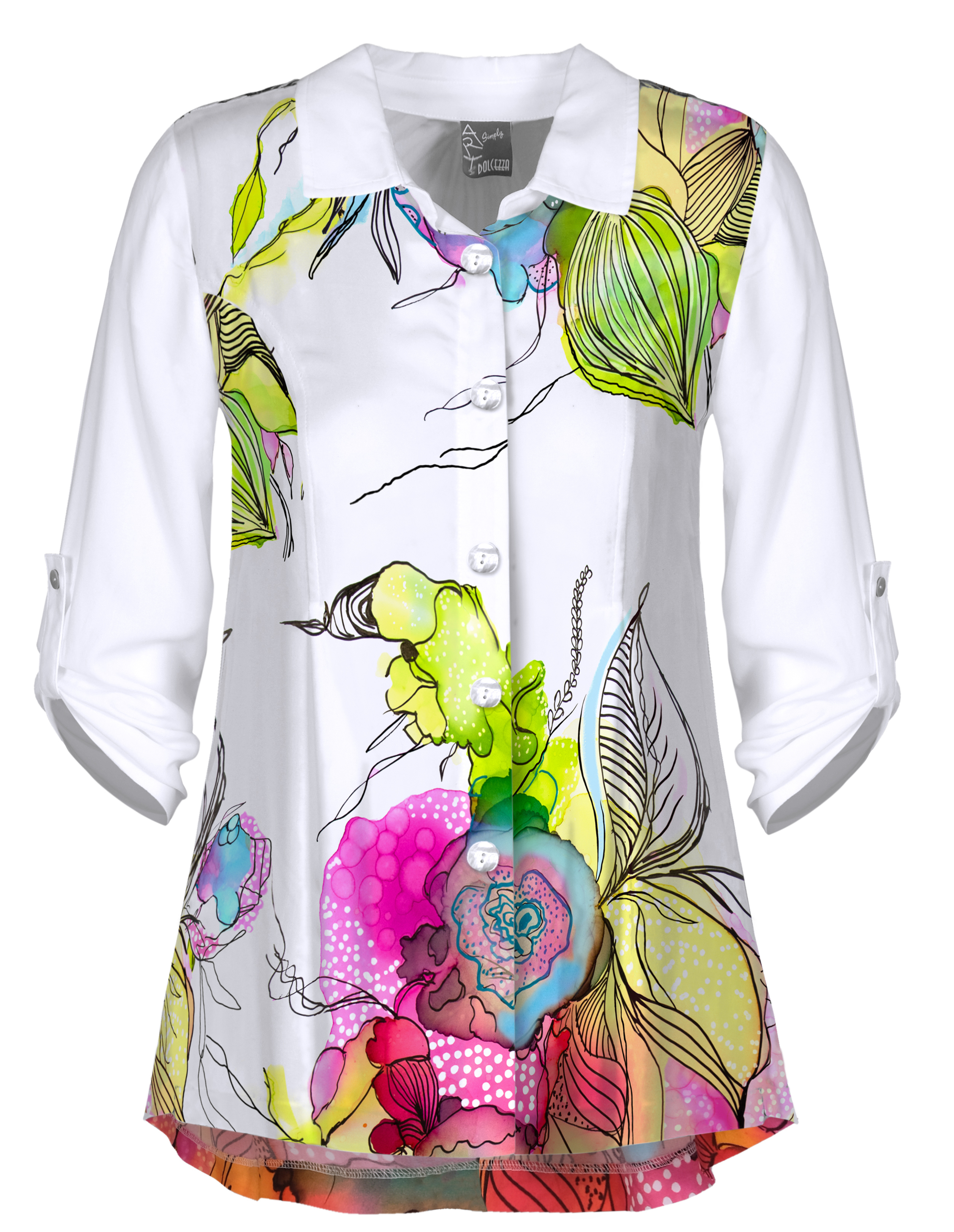 Simply Art Dolcezza: Full Of Vivacity Abstract Art Buttoned High Low Blouse (1 Left!) Dolcezza_simplyart_21722