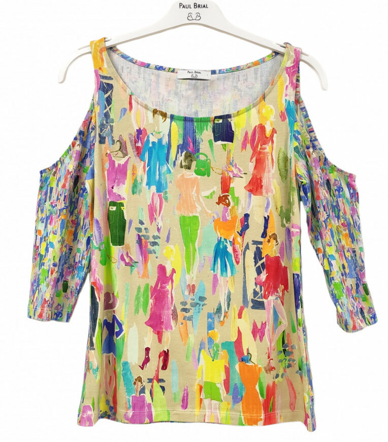 Paul Brial: Can you see the Women In Neon Cold Shoulder Abstract Art T-Shirt PB_LONDRE