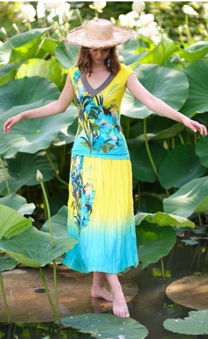 Paul Brial: Exquisite Blooms Of Maldives Crinkled Maxi Skirt PB_VAHINE