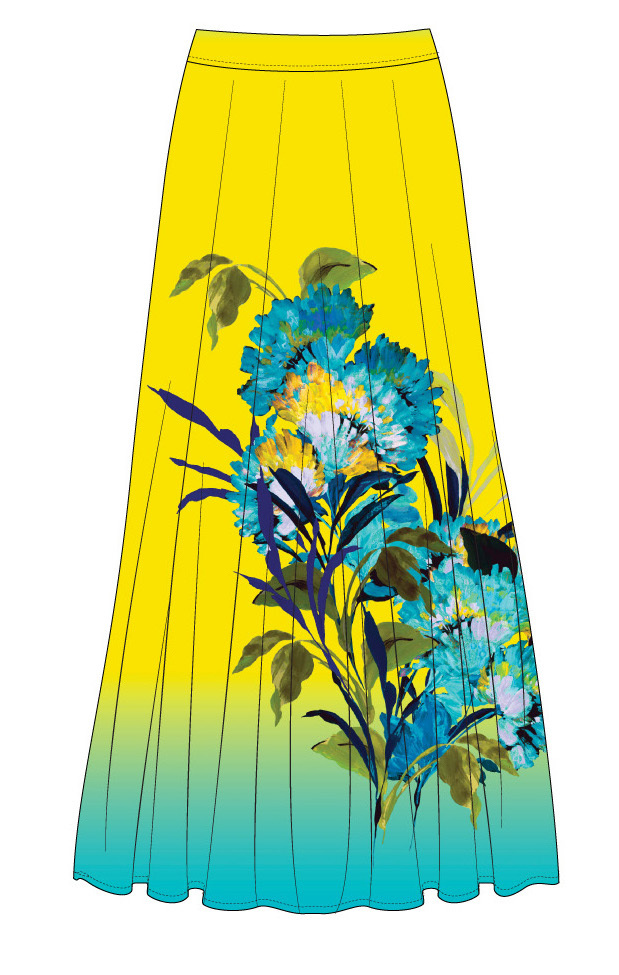 Paul Brial: Exquisite Blooms Of Maldives Crinkled Maxi Skirt