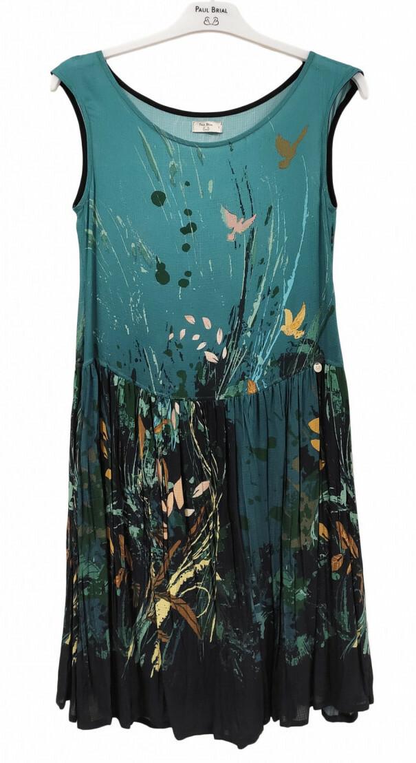 Paul Brial: Underwater Flight Drop Waist Midi Art Dress PB_COLOMBE