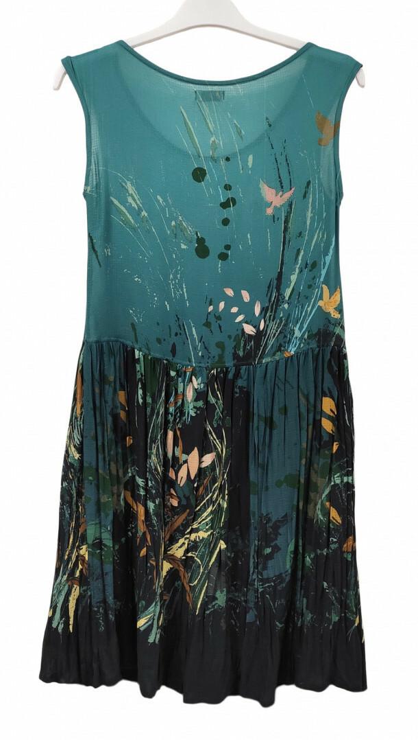 Paul Brial: Underwater Flight Drop Waist Midi Art Dress