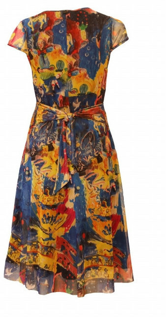 Maloka: Circus Fantasy Art Tied Waist Flared Sundress (In Pink Leopard, 1 Left, Click for More Art Patterns!)