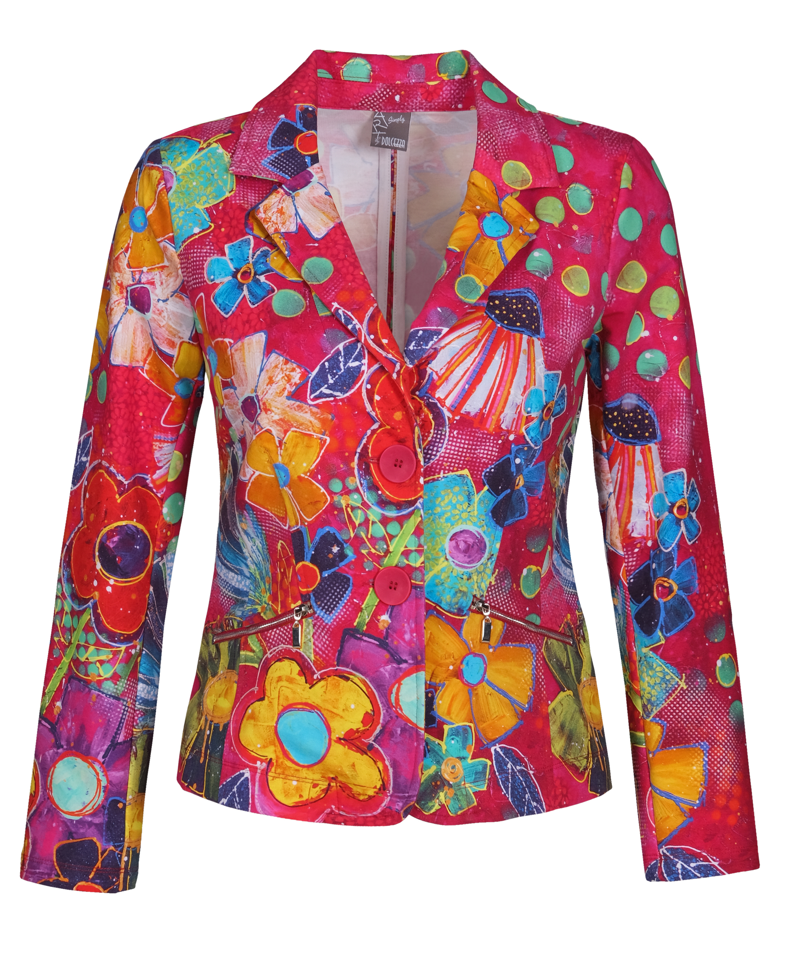 Simply Art: Fiesta Flowers Soft Denim Double Buttoned Abstract Art Jacket (1 Left!) Dolcezza_SimplyArt_21701