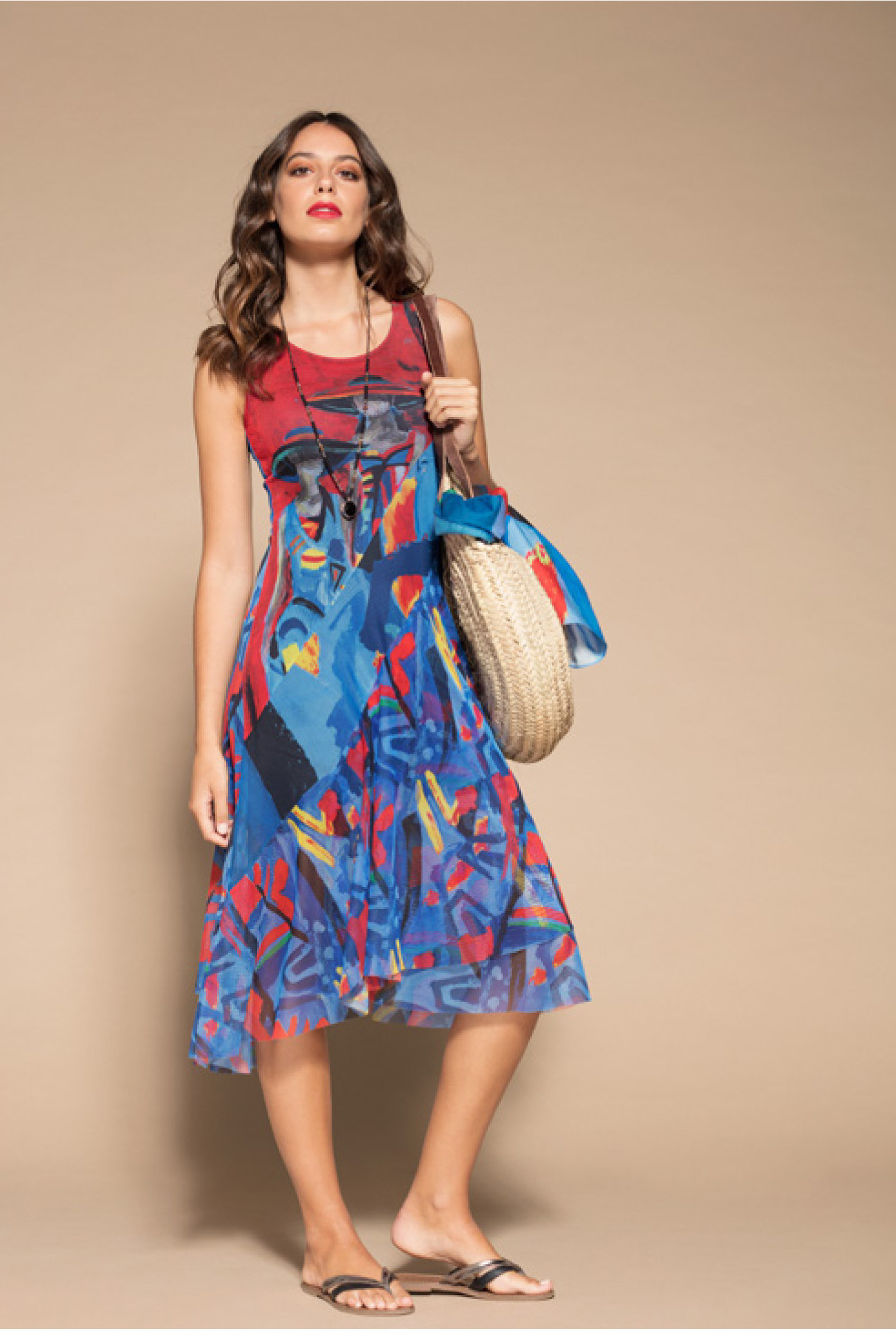 Maloka: Color Of Picasso Gypsy Beauty Art Midi Sundress (In Pink Isles Art, Click for More Color Options)