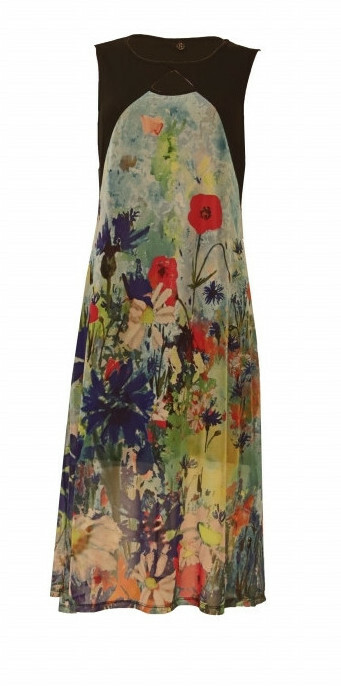 Maloka: Beauty Blooms Abstract Art Keyhole Maxi Dress