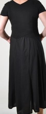 Luna Luz: Short Sleeve Cross Over Bodice Long Dress (Ships Immed in Black, Few Left!)