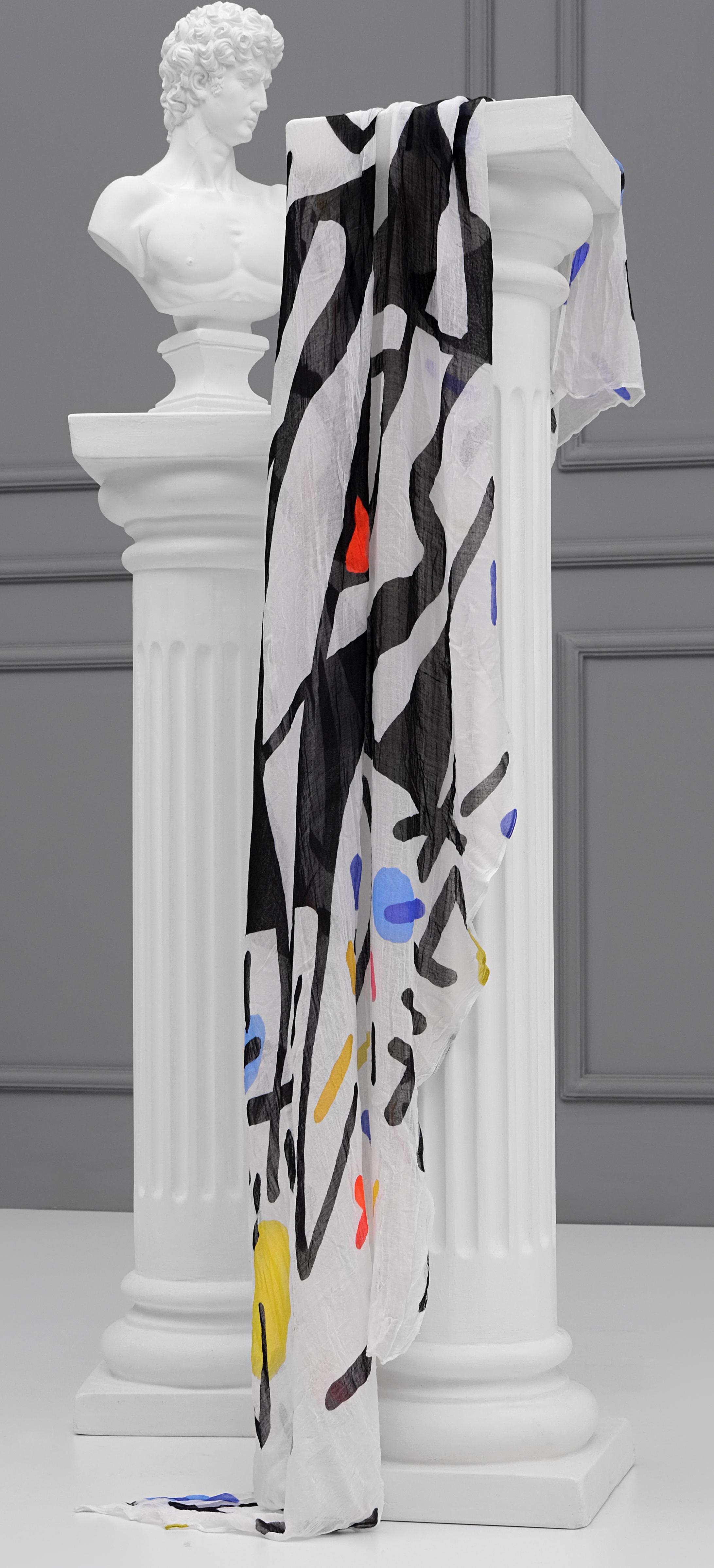 Simply Art Dolcezza: Naissance De L'Origine Asymmetrical Abstract Art Scarf Dolcezza_SimplyArt_21907