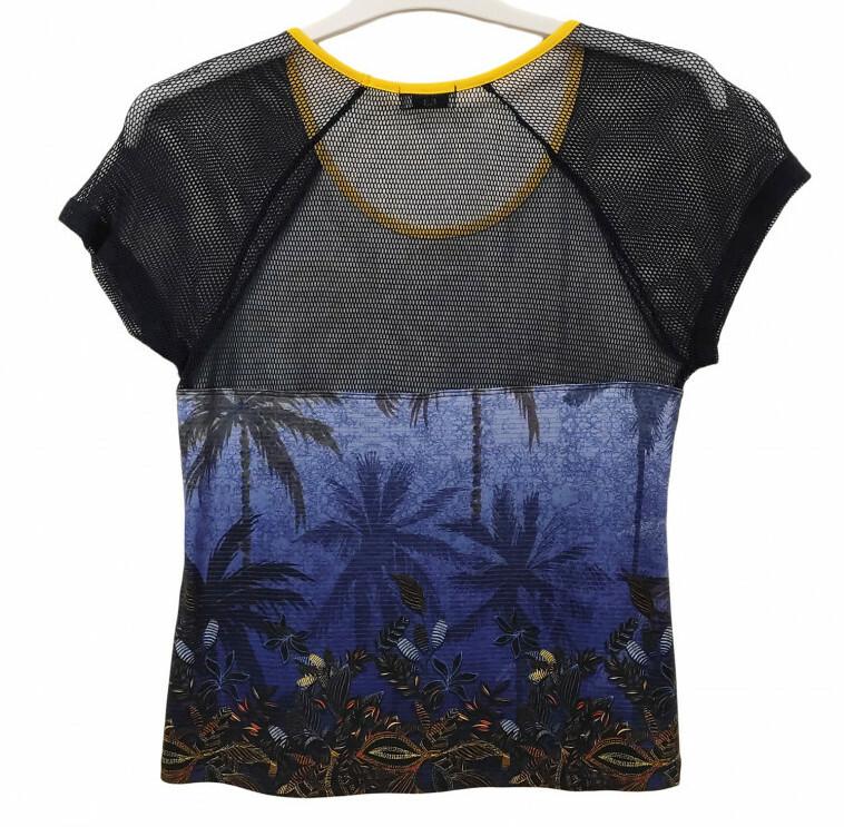 Paul Brial: Palm Tree Printed Mesh Sleeve T-Shirt
