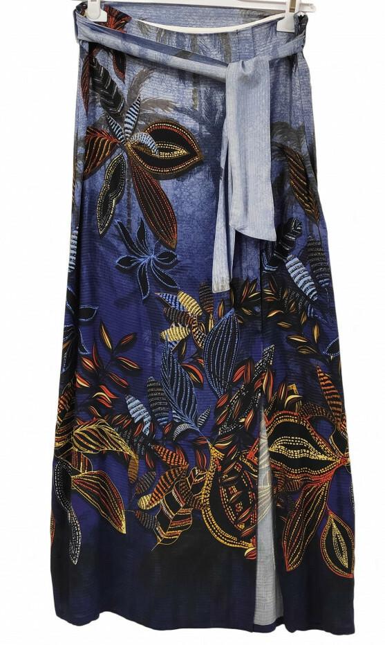 Paul Brial: Palm Tree Printed Wrap Maxi Skirt PB_PROMENADE