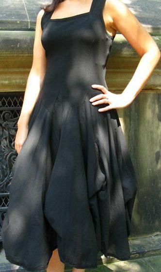 Luna Luz: Romantic Square Neck Tied & Dyed Midi Dress (In Navy, Black, Zest, Bonfire- All Ship Immed, Few Left!)