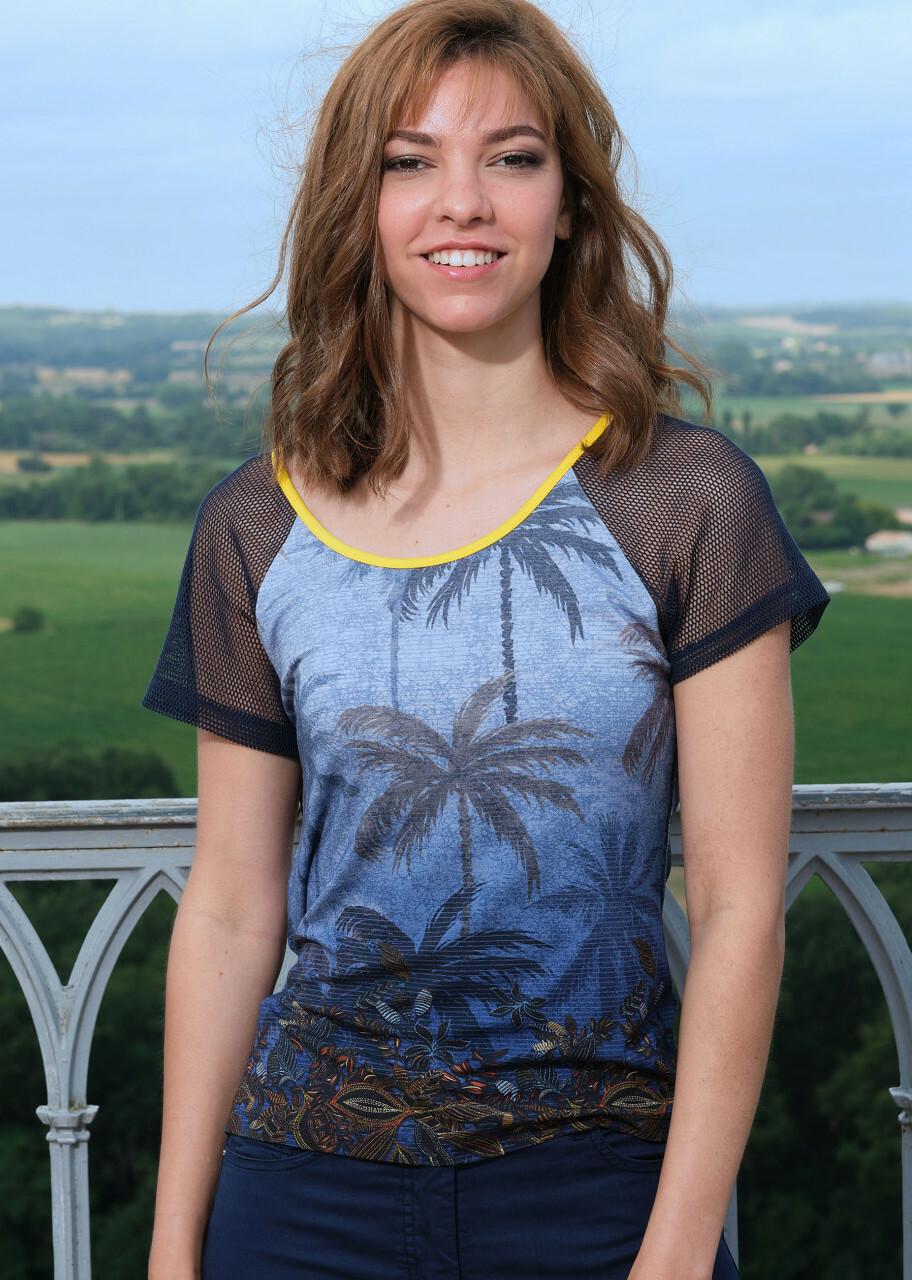Paul Brial: Palm Tree Printed Mesh Sleeve T-Shirt PB_croisiere_N