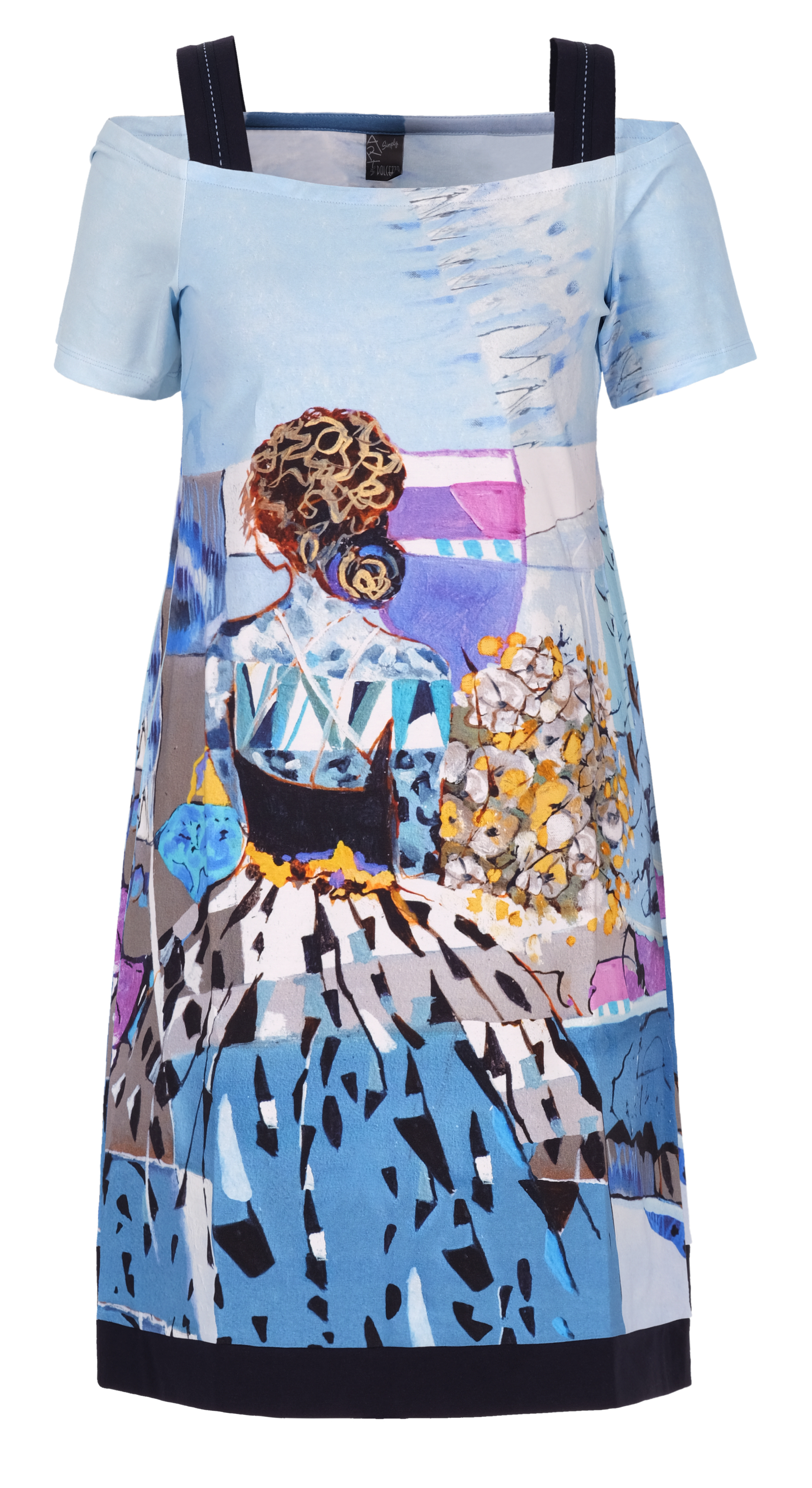Simply Art Dolcezza: Princess Danae Abstract Art Flared Cold Shoulder Dress (3 Left!) Dolcezza_Simplyart_21745