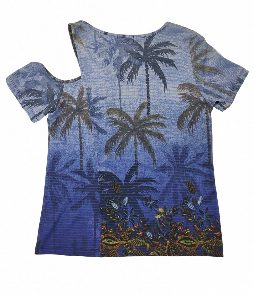 Paul Brial: Palm Tree Printed One-Sided Open Shoulder Top (2 Left!)