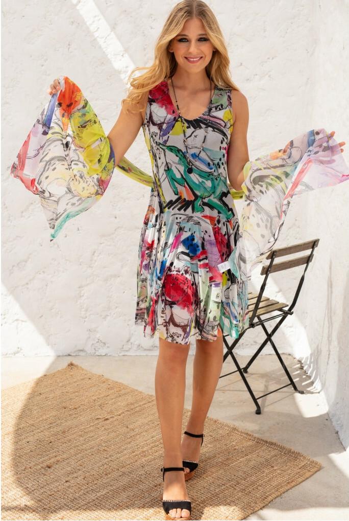 Maloka: Lounging Lioness Painted Dropped Waist Dress MK_OZANNE