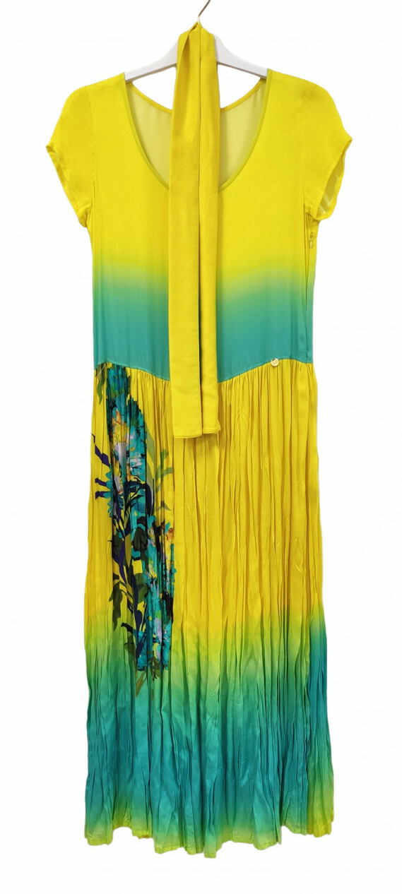 Paul Brial: Exquisite Blooms Of Maldives Crinkled Maxi Dress PB_LAGON_N