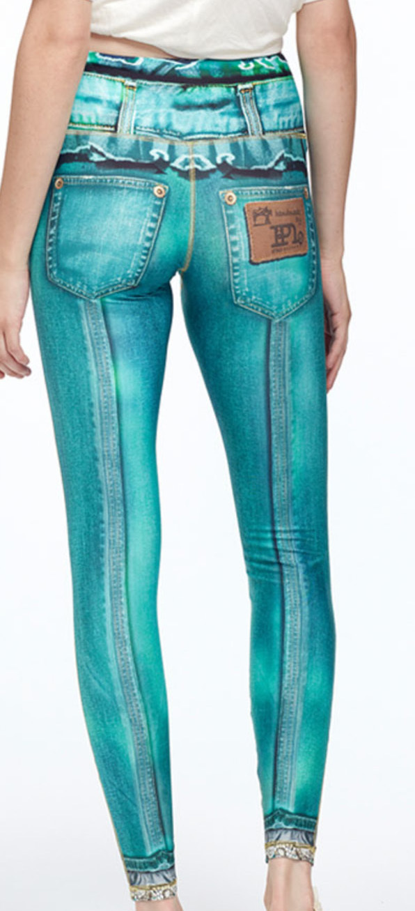 IPNG: Love Me Criss Cross Denim Illusion Legging (Ship Immed in TEAL, Click for more colors!)
