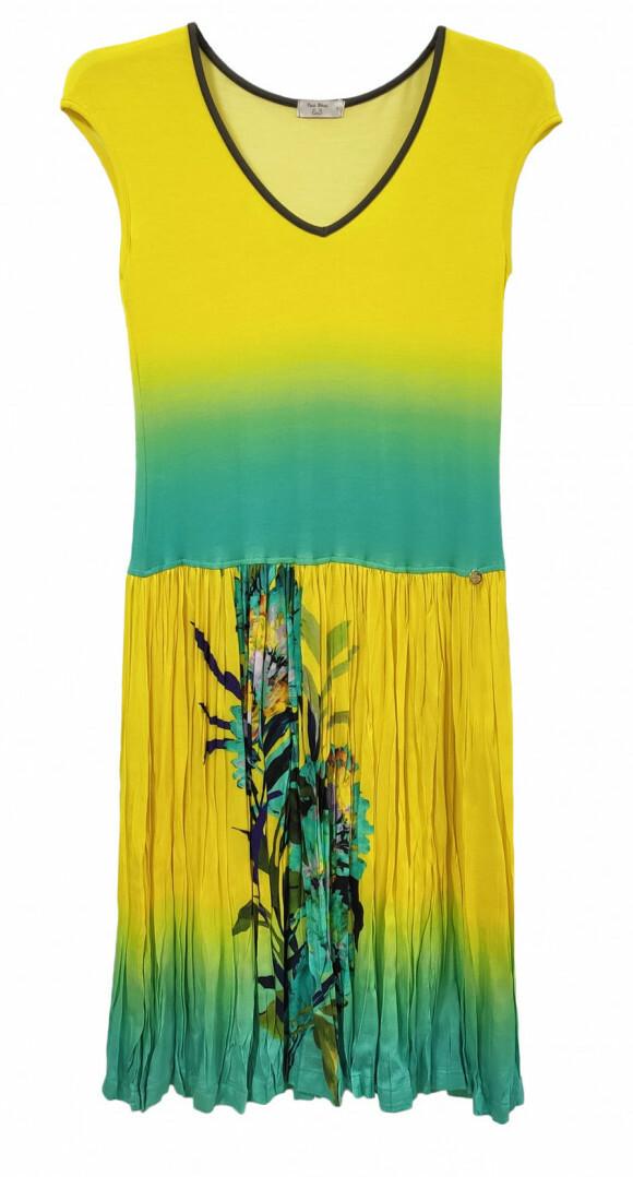 Paul Brial: Exquisite Blooms Of Maldives Crinkled Midi Dress PB_POLYNESIE_MALDIVE