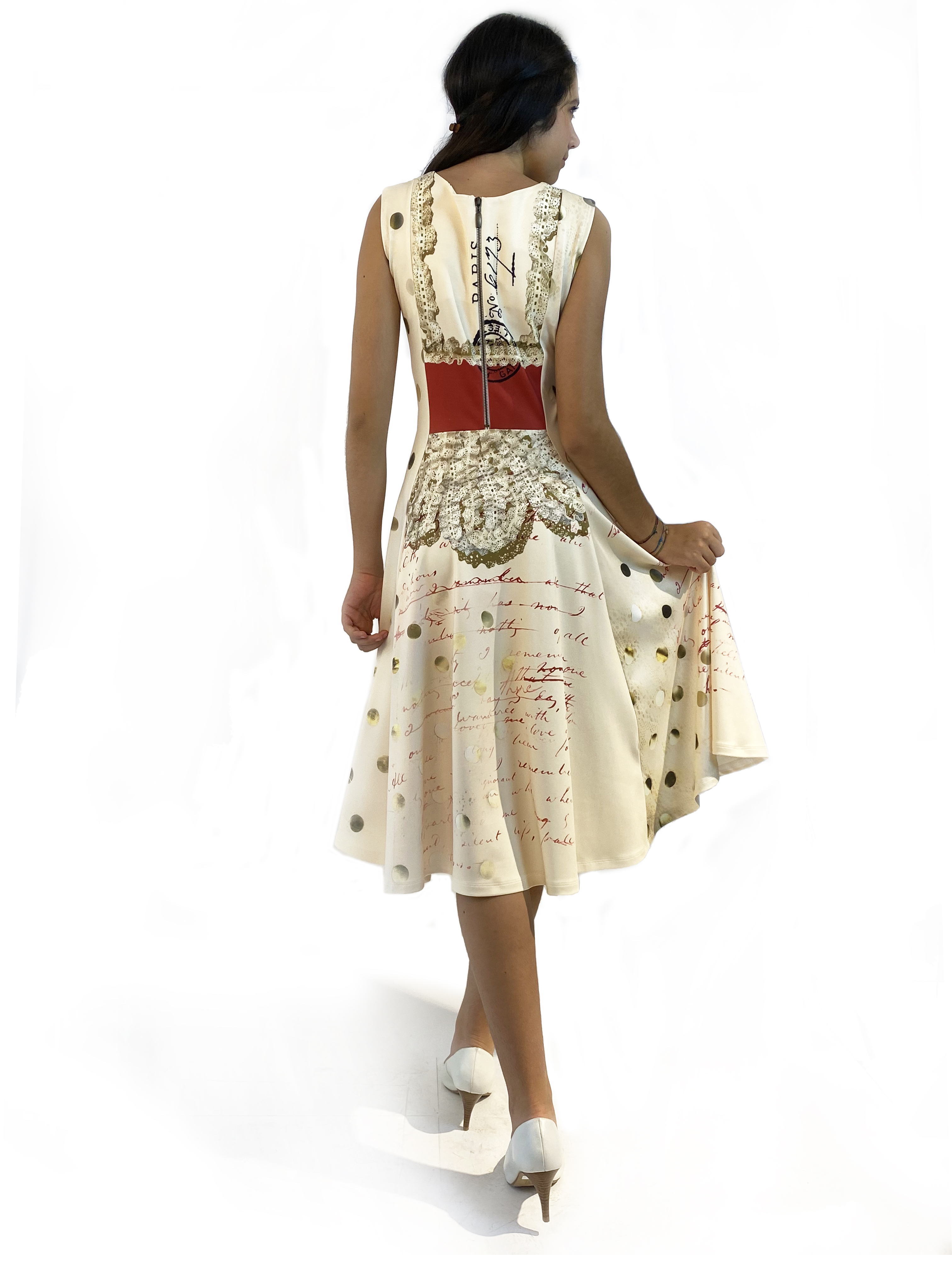 IPNG: If I Was Dancing In Paris Flared Illusion Midi Zip Gown