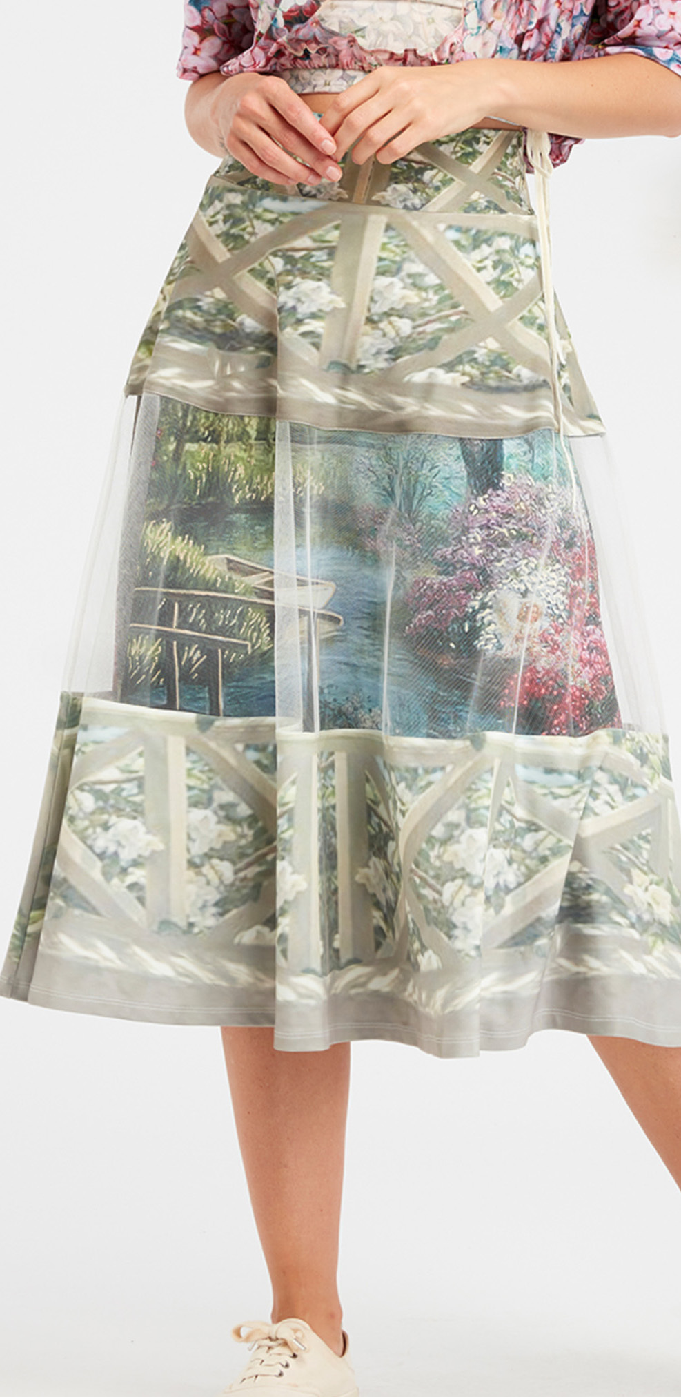IPNG: A Window Into Paradiso A-line Midi Skirt (Some Ship Immed!)