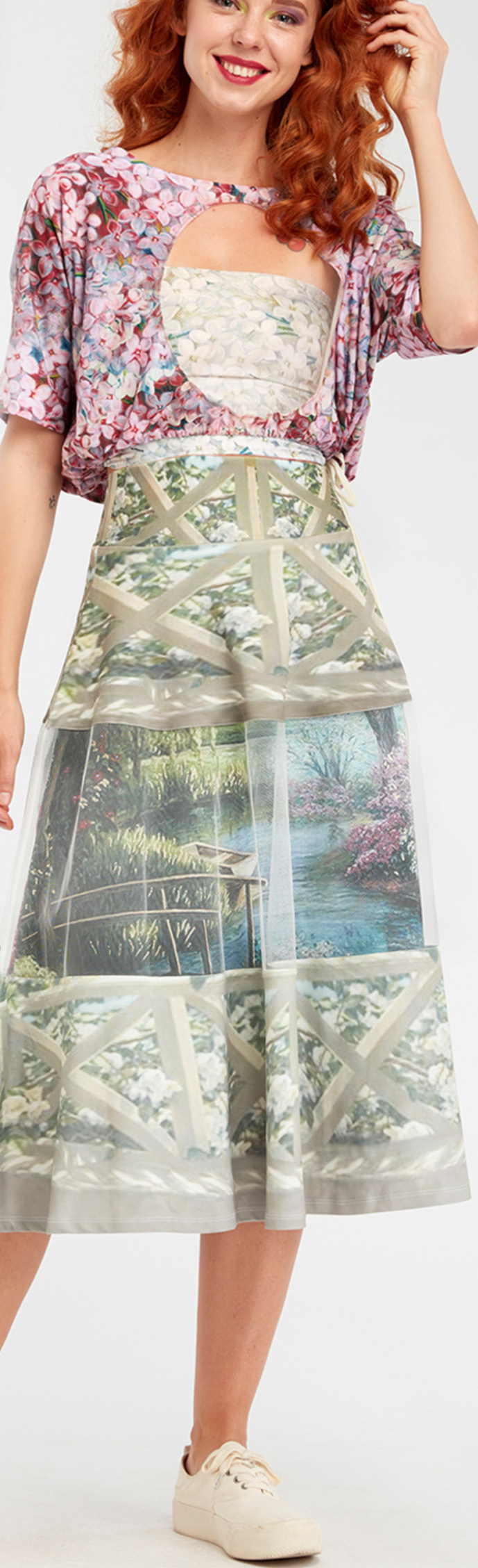 IPNG: A Window Into Paradiso A-line Midi Skirt (Some Ship Immed!) IPNG_IPSKH-070