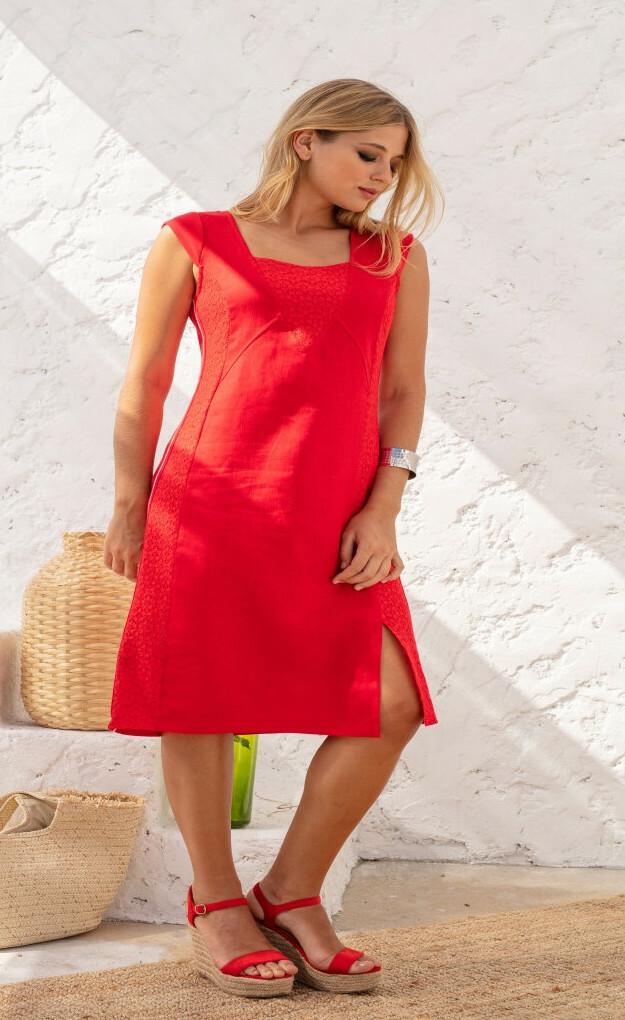 Maloka: Floral Square Neck Midi Linen Dress (More Colors!) MK_RASHA