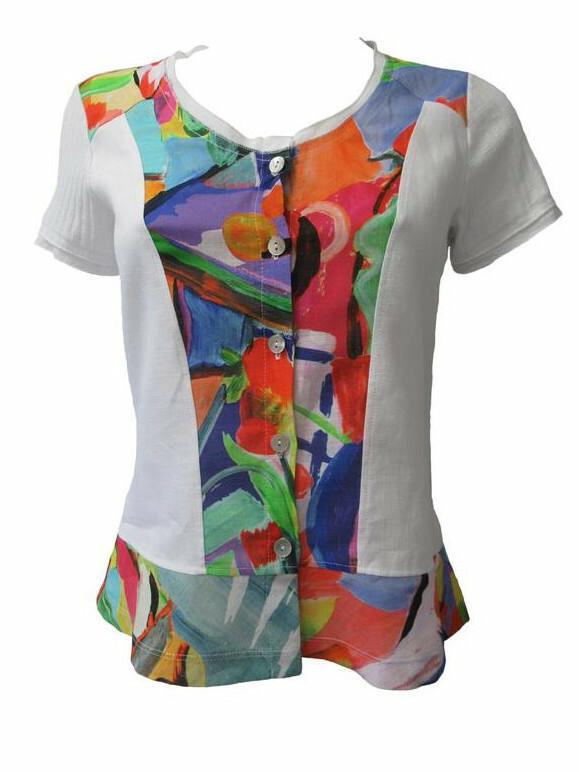 Maloka: Apples & Cherries Abstract Art Button Flared Linen T-Shirt MK_CELIE
