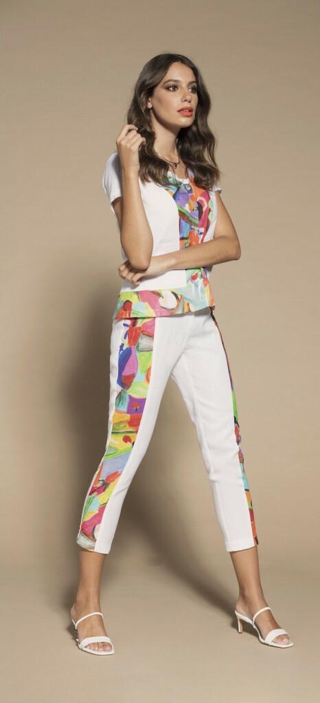 Maloka: Apples & Cherries Abstract Art Button Flared Linen T-Shirt