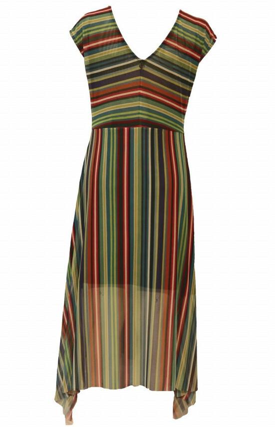 Maloka: Beauty Lines Abstract Art Flared Maxi Dress