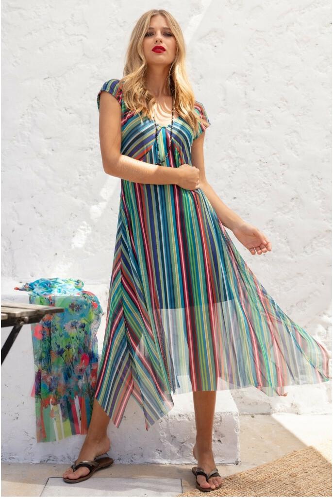Maloka: Beauty Lines Abstract Art Flared Maxi Dress MK_FARREN