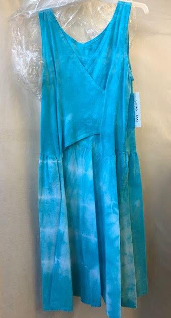 Luna Luz: Cross Over Bodice Tie Dye Midi Dress (New: In Aqua Shoreline, Ships Immed!)