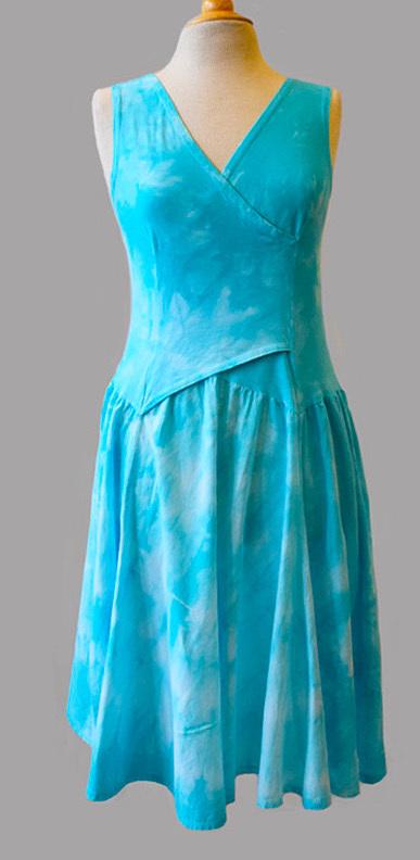 Luna Luz: Cross Over Bodice Tie Dye Midi Dress (New: In Aqua Shoreline, Ships Immed!) LL_5516_AQUA_SHORELINE