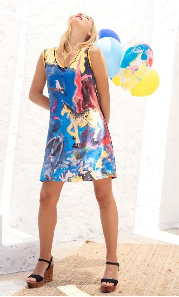 Maloka: Circus Fantasy Abstract Art Mini Dress/Tunic MK_TECAMEA