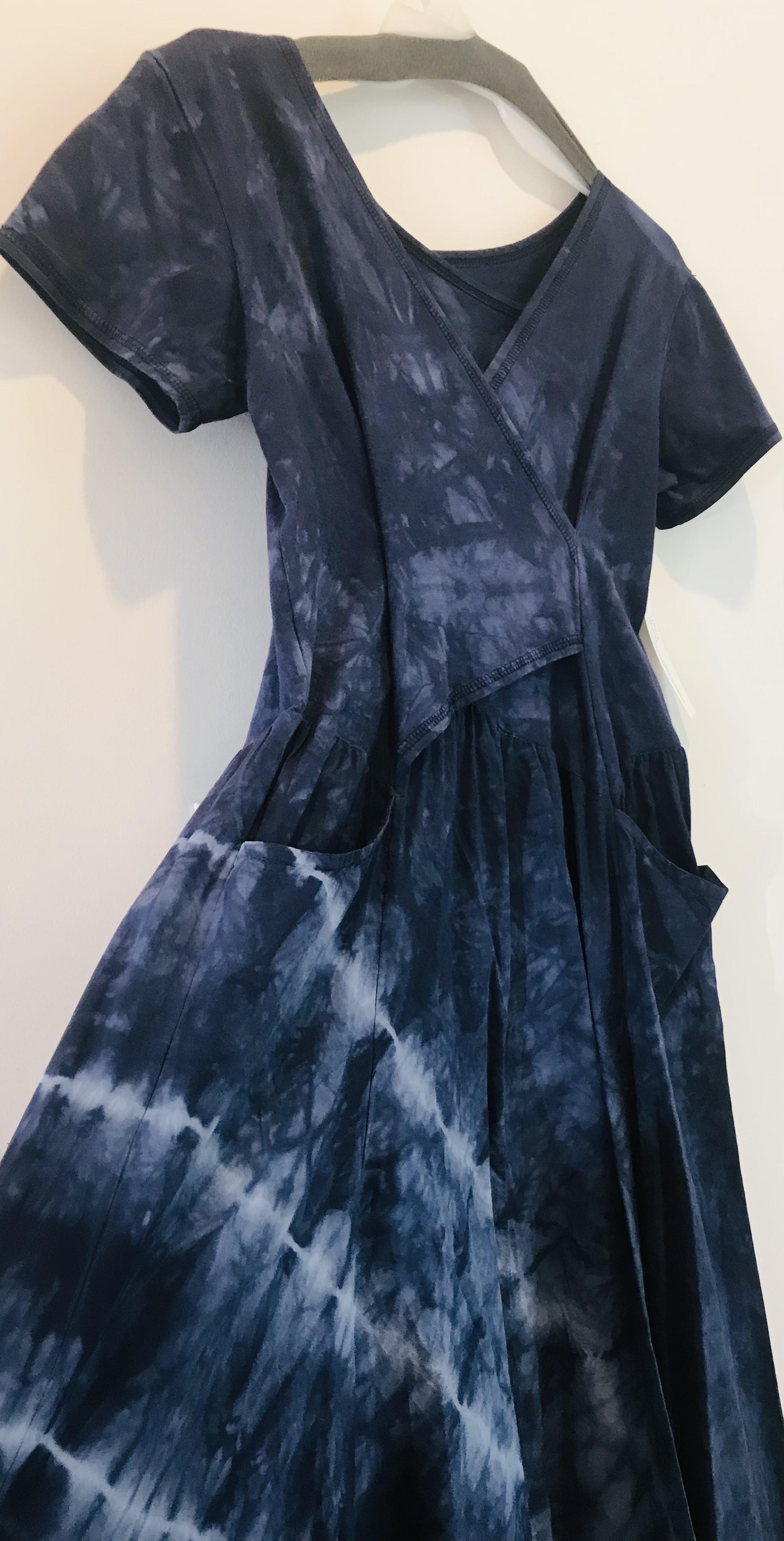 Luna Luz: Short Sleeve Cross Over Bodice Tie Dye Long Dress (Ships Immed: Navy Shoreline, 1 Left!) LL_518_NAVYSHORELINE_NEW1