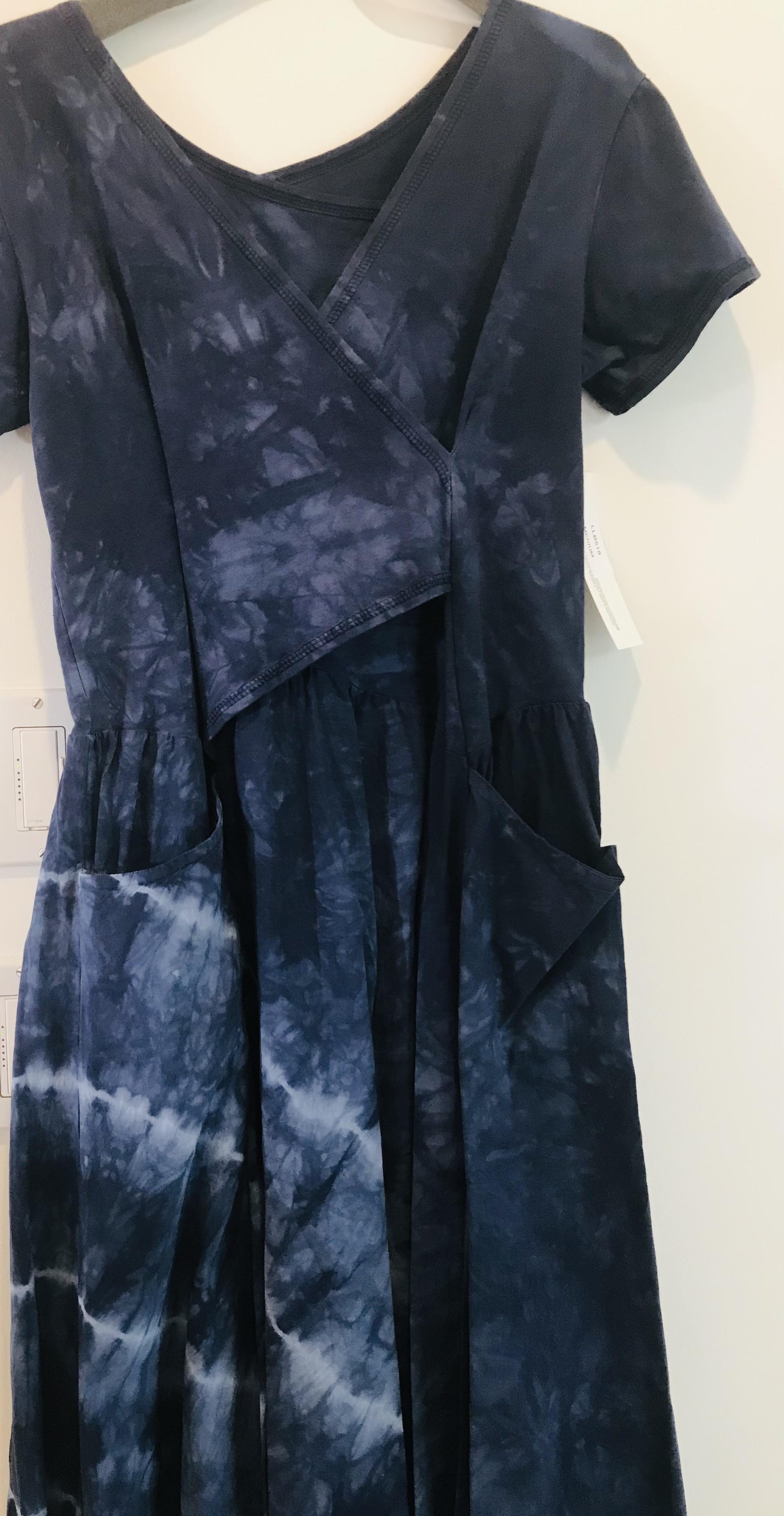 Luna Luz: Short Sleeve Cross Over Bodice Tie Dye Long Dress (Ships Immed: Navy Shoreline, 1 Left!)