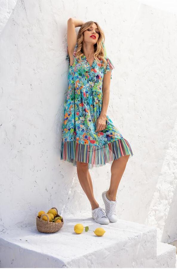 Maloka: Beauty Blooms Contrast Hem Flare Dress MK_FELISHA